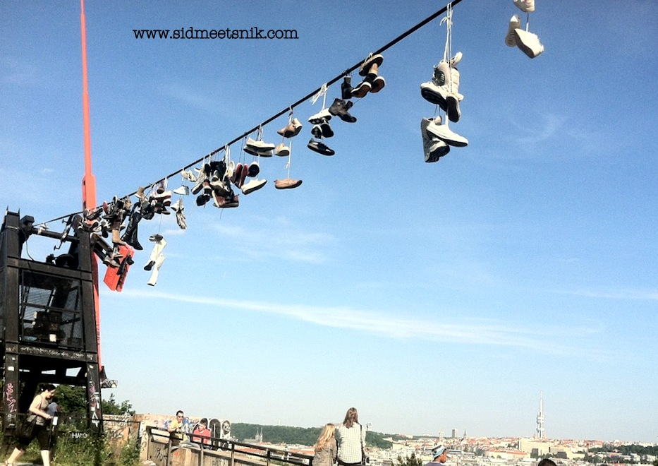 6 Quirky and offbeat places in Prague, shoe monument,shoe display on letna park